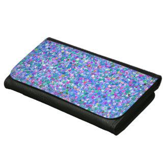 Multicolor Mosaic Modern Grit Glitter Wallets For Women
