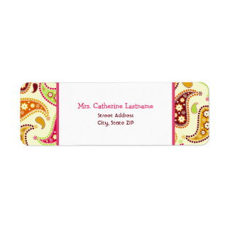 Multicolor Paisley Address Label Sticker