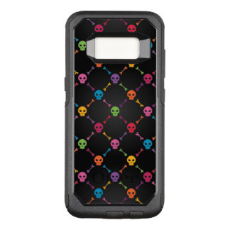 Multicolor pattern with skulls OtterBox commuter samsung galaxy s8 case