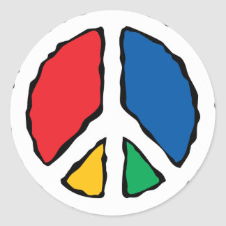 Multicolor Peace Symbol Round Sticker