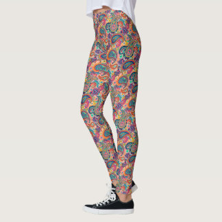 Multicolor Pink Orange Blue Paisley Pattern Leggings