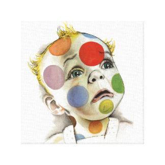 Multicolor Polka Dot Baby Face by Lenn Redman Canvas Prints