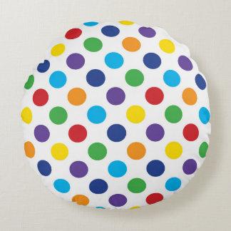 Multicolor Polka Dot pattern Round Cushion