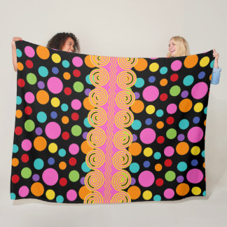 Multicolor Polka Dots Fleece Blanket