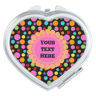 Multicolor Polka Dots Heart Compact Mirror
