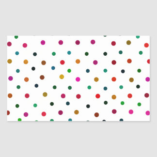 Multicolor Polka Dots. Red, Blue, Brown, Green Rectangular Sticker