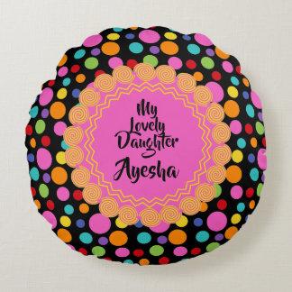Multicolor Polka Dots Round Throw Pillow