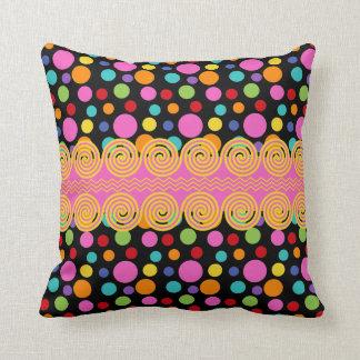 Multicolor Polka Dots Throw Pillow
