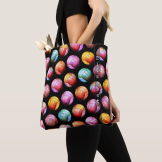 multicolor pop art volleyball tote bag with name