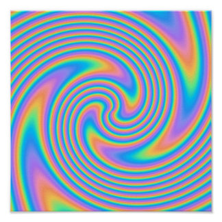 Multicolor Psychedelic Twist Swirl Pattern Posters