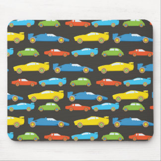 Multicolor Race Cars on Black Mouse Pad