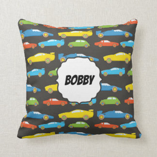 Multicolor Race Cars on Black Personalised Cushion