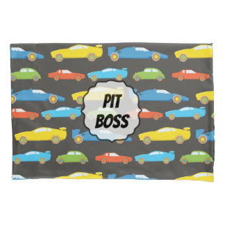 Multicolor Race Cars on Black Personalised Pillowcase