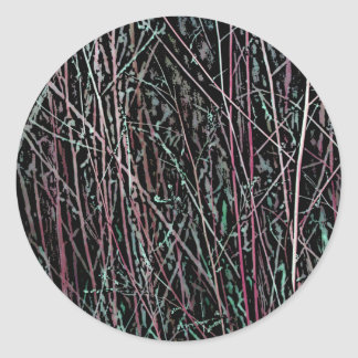 Multicolor Reeds in Pink and Green Classic Round Sticker
