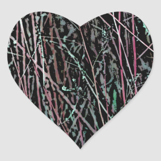 Multicolor Reeds in Pink and Green Heart Sticker