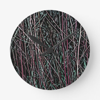 Multicolor Reeds in Pink and Green Round Clock