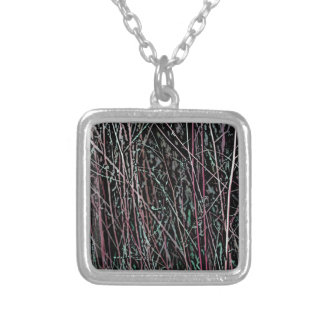 Multicolor Reeds in Pink and Green Silver Plated Necklace