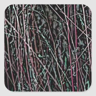 Multicolor Reeds in Pink and Green Square Sticker