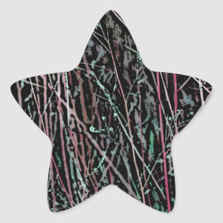 Multicolor Reeds in Pink and Green Star Sticker