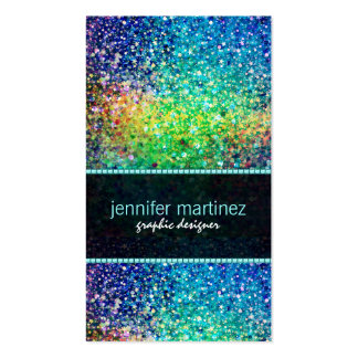 Multicolor Retro Sparkles & Glitter Pattern Pack Of Standard Business Cards