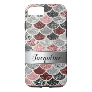 Multicolor Rose Pink Silver Mermaid Scales Tail iPhone 8/7 Case