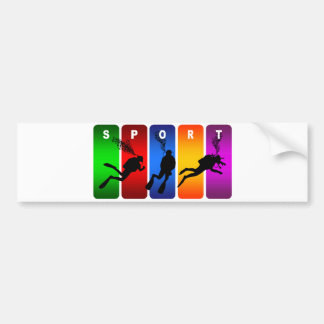 Multicolor Scuba Diving Emblem Bumper Sticker