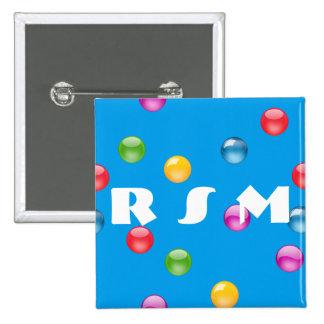 Multicolor Shiny Polkadot Confetti DIY Background 15 Cm Square Badge