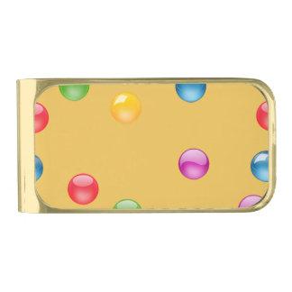 Multicolor Shiny Polkadot Confetti DIY Background Gold Finish Money Clip