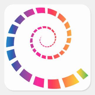 Multicolor Spiral Square Sticker