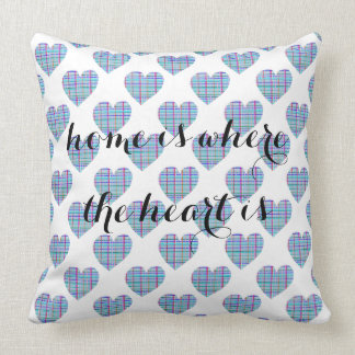 Multicolor striped blue hearts on white throw pillow