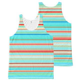 Multicolor Striped Pattern All-Over Print Singlet