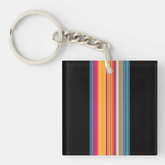 Multicolor Striped Pattern Key Ring