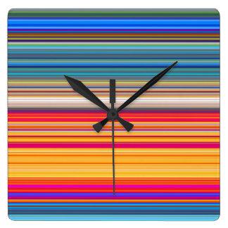 Multicolor Striped Pattern Square Wall Clock