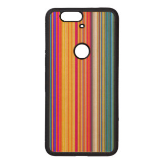 Multicolor Striped Pattern Wood Nexus 6P Case
