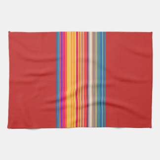 Multicolor Striped/Red Pattern Towels