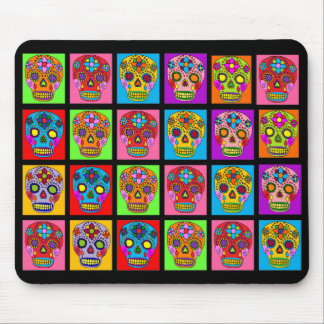 Multicolor Sugar Skull Squares Mouse Pad