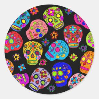 Multicolor Sugar Skulls Classic Round Sticker