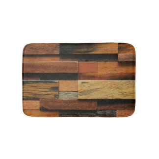 Multicolor Textured Wood Collage Bath Mat