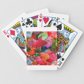 Multicolor umbrellas bicycle playing cards