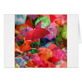 Multicolor umbrellas card
