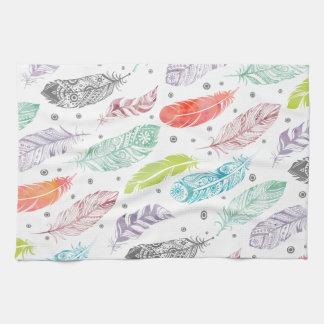 Multicolor Watercolor Feather Pattern Tea Towel
