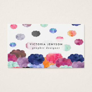 Multicolor whimsical watercolour clouds pattern business card