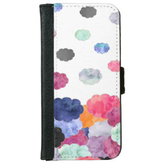 Multicolor whimsical watercolour clouds pattern iPhone 6 wallet case