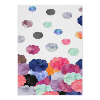 Multicolor whimsical watercolour clouds pattern poster