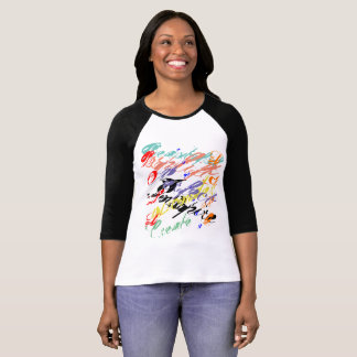 Multicolor word 3/4 sleeve shirt
