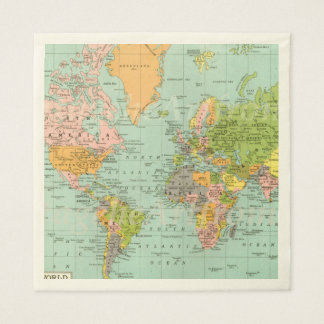 Multicolor World Map Baby Shower Collection Napkin Disposable Napkins