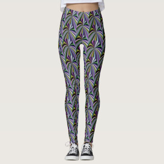 Multicolor Yellow/Green/Lavender/Blue/Pink Pattern Leggings