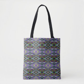 Multicolor Yellow/Green/Lavender/Violet Pattern Tote Bag