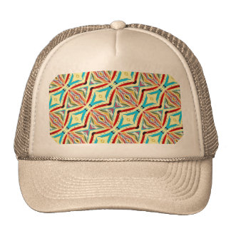 Multicolored Abstract Chains Geometric Pattern Mesh Hat