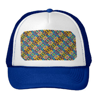 Multicolored Abstract Chains Geometric Pattern Trucker Hats